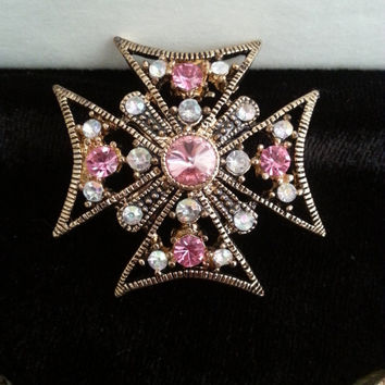 Vintage Pink Rhinestone Maltese Cross Necklace ** Retro 1960's Collectible Jewelry