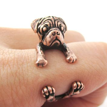 Realistic Pug Puppy Dog Shaped Animal Wrap Around Ring in Copper | Sizes 4 to 8.5