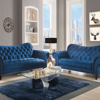 Acme 53405-07 2 pc Iberis blue velvet fabric nail head trim sofa and love seat set