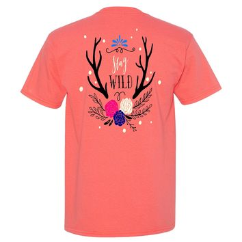 Stay Wild Southern Charm Collection on a Coral Short Sleeve T Shirt