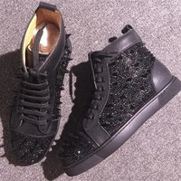 Cl Christian Louboutin Rhinestone Style #1954 Sneakers Fashion Shoes - Best Deal Online