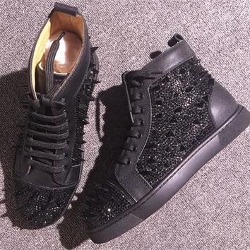 Cl Christian Louboutin Rhinestone Style #1954 Sneakers Fashion Shoes
