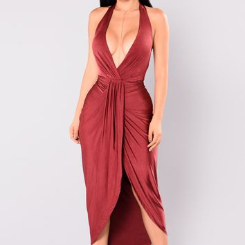 Mia Draped Dress - Burgundy