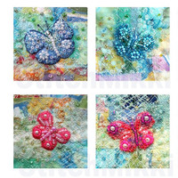 2.25 inch square tiles - beaded butterflies - patchwork - digital collage sheet
