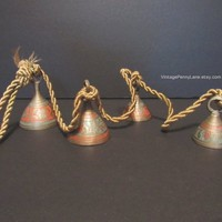 Vintage Sarna Bells, Brass Bells on a Rope, Wall Hanging, Boho / Bohemian Decor