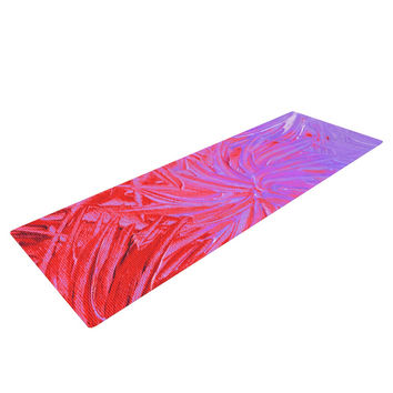 "Ebi Emporium ""Water Flowers Crimson Lilac"" Pink Red Yoga Mat"