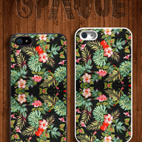 Tropical Floral Print Apple iPhone 5 5s & 4 4s Hard Case -  In Multiple Colours - Hipster Indie Grunge Vintage Summer Tumblr