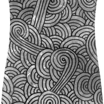 Grey and black swirls doodles Simple Dress