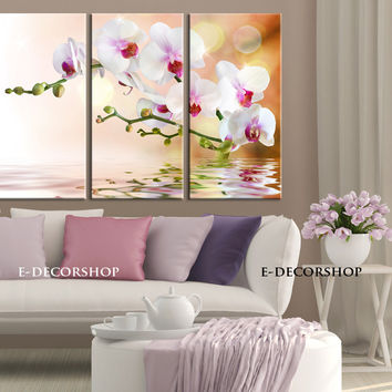 Large Wall Art 3 Panel Orchid Flowers Canvas Art Print | Ready to Hang | Streched Canvas Orchid Printing | Flower Canvas Painting