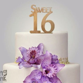 "Rustic Wood cake topper ""sweet 16"""