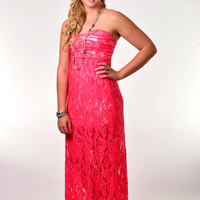 Coral Lace Semi-lined Maxi Dress with Bow tied Back