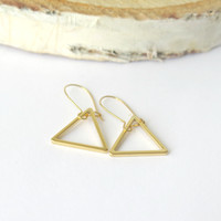 Sale Gold Triangle Earrings / Dangle Earrings / Geometric Earrings / Minimalist Gold Earrings