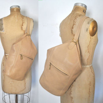Coach Sling Bag / backpack bookbag / cream leather body tote