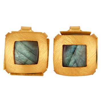 22K Yellow Gold Plated Brass Faceted Labradorite Gemstone Stud Earrings