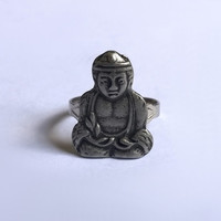 Buddha Ring / Silver Ring / Adjustable Metal Ring / Buddhist Rings / Monk / Exentricity