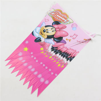 Decoration Pennats Kid Favors Baby Shower Party Banners Minnie Mouse Paper Flags Happy Birthday Supplies Tableware 1pc\lot