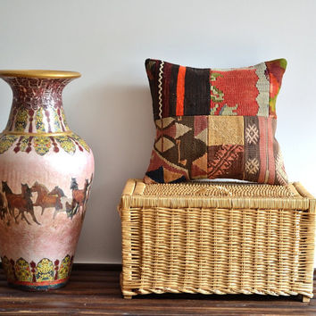 Vintage Handwoven Patchwork Pillow Cover - Kilim Patchwork Pillow - Vintage Decorative Pillows, Bohemian Pillow, Floor Pillow