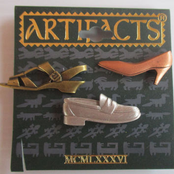 JJ Vintage Pin Shoes-  Jonette Jewelry tac pin set accessory- Unique Gift woman wife mom- Artifacts collectible NOS