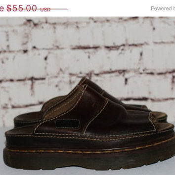 40% OFF 90s Dr Martens Leather Chunky us 8 uk 7 slip on Grunge Hipster boho cyber Goth pastel Festival  80s dark brown docs boots shoes