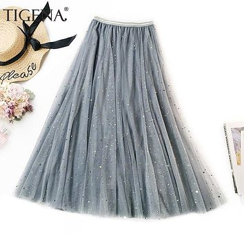 TIGENA Fashion Shiny Glitter Sequin Tulle Skirt Women 2019 Summer Long Maxi Skirt Female Korean A-line High Waist Pleated Skirt