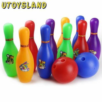 Utoysland Colorful Cartoon Standard Bowling Set 10 Pins 2 Bowling Balls Children Kids Educational Toys Indoor Outdoor Sport