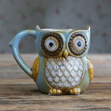 YKPUII Innovative Owl Ceramic Mug Coffee Tea Milk Mug Beer Drinkware Mug Animal Drinking Cup Halloween Christmas Birthday Gift