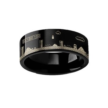 Retro 8-bit Nintendo Super Mario Bros Black Tungsten Ring