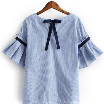Blue Bell Sleeve Self-Tie Bow Back Striped Blouse