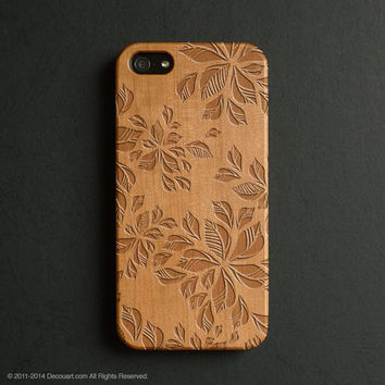Real wood engraved floral pattern iPhone case S041