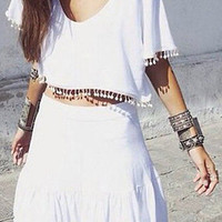 White Short Sleeve Crop Top and Pom Pom Detail Skirt