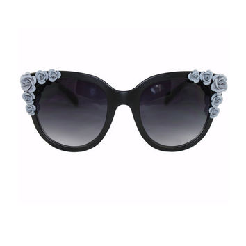 Grey Matte Floral Beaded Large Frame Cat Eye Sunglasses
