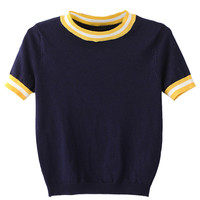 Navy Striped Trims Ribbed Crop Top