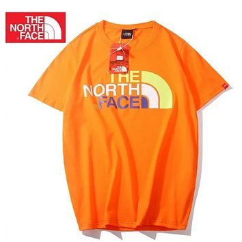 The North Face Fashion New Multicolor Letter Print Sports Leisure Women Men Top T-Shirt Orange