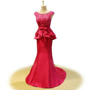 Elegant Lace Appliques Beaded Satin Ruffle Evening Gowns Cap Sleeve Floor Length Dress