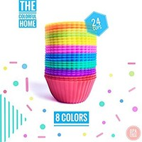 The Colorful Home 24 Pack Baking Silicone Cups - 8 colors - Reusable & Nonstick Muffin Molds - Cupcake Holders set - Orange Light Green Yellow Pink Blue Green Purple Red Muffin / Cupcake Cups