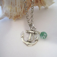 Anchor Necklace  Antique Silver  with Agate Bead by 636designs