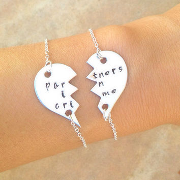 partners in crime, partners in crime bracelet, bridesmaid jewelry, bridesmaid bracelet, maid of honor bracelet, for the bridesmaids