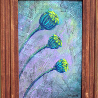 Modern style original art acrylic painting on wooden board signed and dated