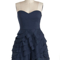 ModCloth Vintage Inspired Short Strapless A-line Baklava Beauty Dress in Blueberry