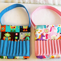 Boys and Girls Crayon Activity Tote Bags, Your Choice, Gift for Girls, Gift for Boys, Unicorns Bag and Robots Bag,, Made in the USA , #4&5