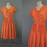 1960s Orange Button Front Dress, 37 bust, Accordion Pleat Section, Vintage Day Dress with Full Skirt