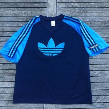 Vintage 80's adidas Football Polyester Felt Trefoil Logo Training Shirt Made In Englan