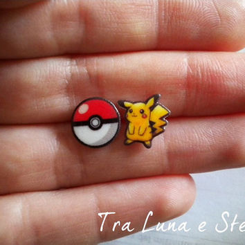 Earrings Pikachu and Pokéball, Pokémon - kawaii, cute