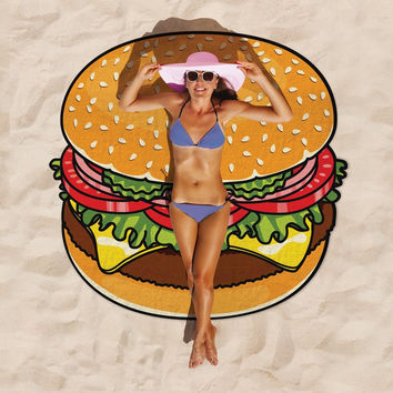 Giant Burger Beach Tapestry
