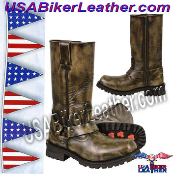 "Mens Distressed Brown 11"" Inch Classic Harness Square Toe Boots / SKU USA-MBM9005-SH"