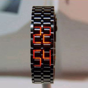 Fashion LED Digital Watch Lava Style Iron Samurai Metal Watch = 5612388097
