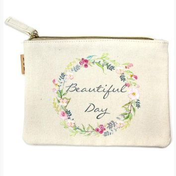 Beautiful Day Canvas Makeup Bag
