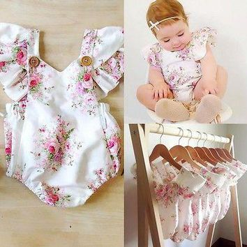 Newborn Rompers For Girl Toddler Kids Baby Girl Clothing Printing Summer Sunsuit Cute Baby Clothes 0-24M