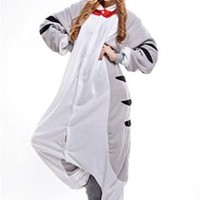 Gray Unisex Adult Onesuits Pajamas Kigurumi Cosplay Costume Cat Animal Sleepwear