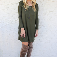 Going Away Olive Long Sleeve Swing Dress